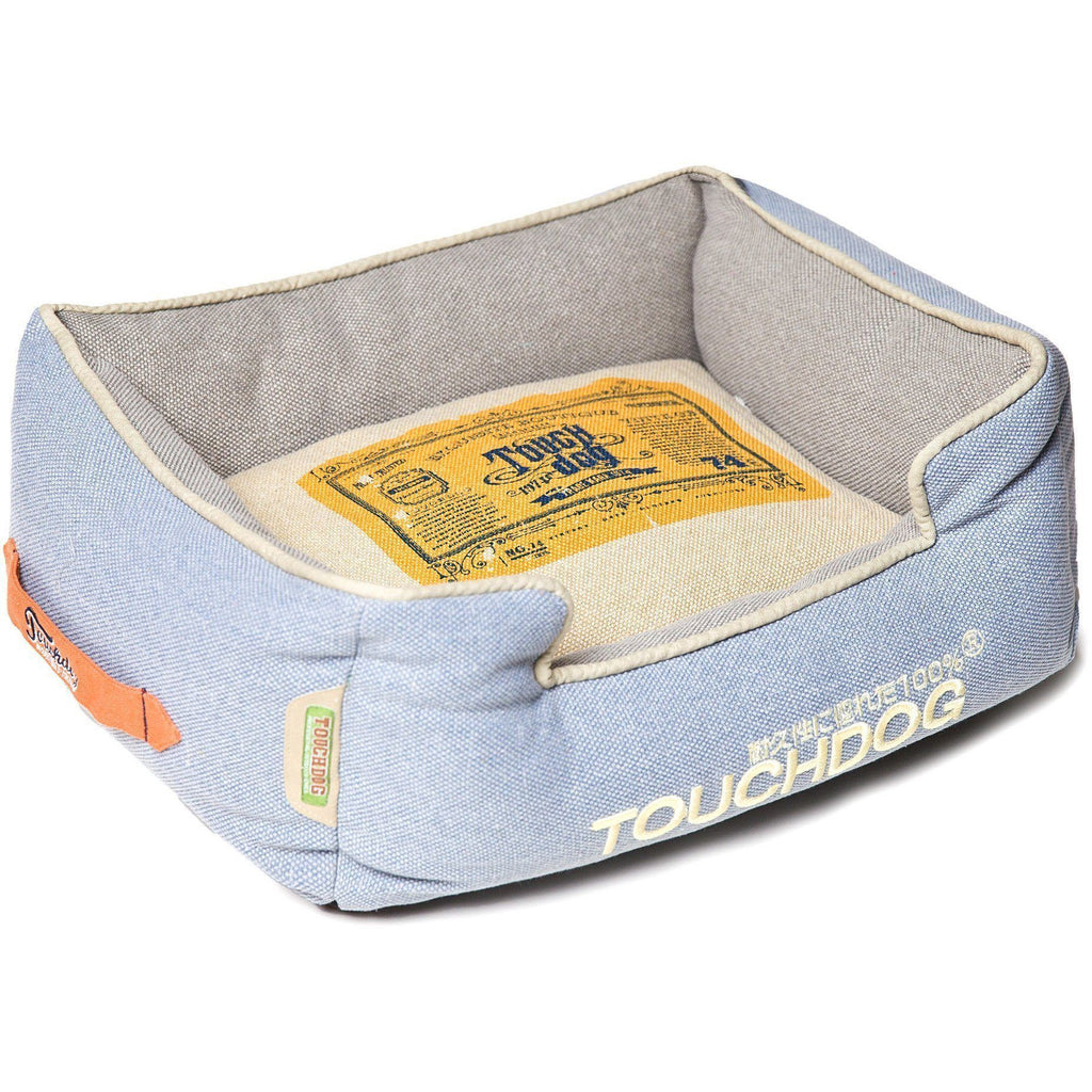 Touchdog ® 'Classical Rectangular' Original Denim Reversible Fashion Designer Pet Dog Bed Mat Denim Blue, Grey, Beige, White