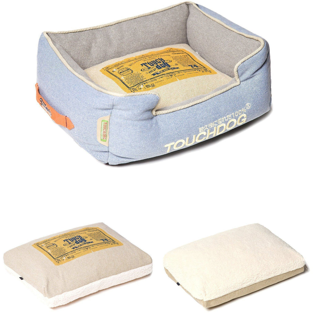 Touchdog ® 'Classical Rectangular' Original Denim Reversible Fashion Designer Pet Dog Bed Mat
