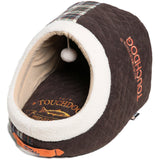 Touchdog ® 'Diamond Stitched' Active-Play Indoor Panoramic Fashion Designer Pet Dog Cat Bed w/ Teaser Toy Dark Brown, White