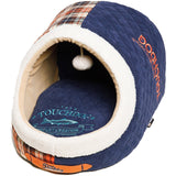 Touchdog ® 'Diamond Stitched' Active-Play Indoor Panoramic Fashion Designer Pet Dog Cat Bed w/ Teaser Toy Dark Blue, White