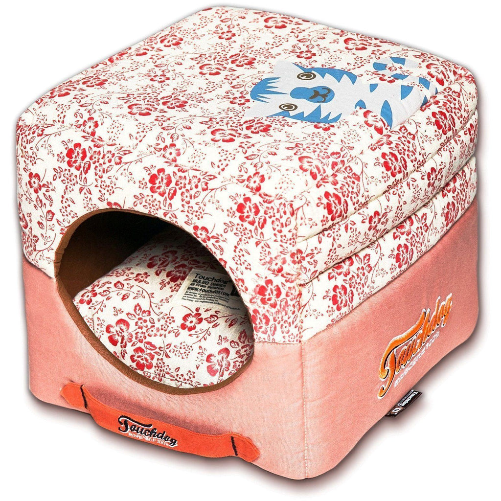 Touchdog ® 'Floral-Galoral' Convertible Squared 2-in-1 Fashion Designer Collapsible Pet Dog Bed House Red, Salmon Pink