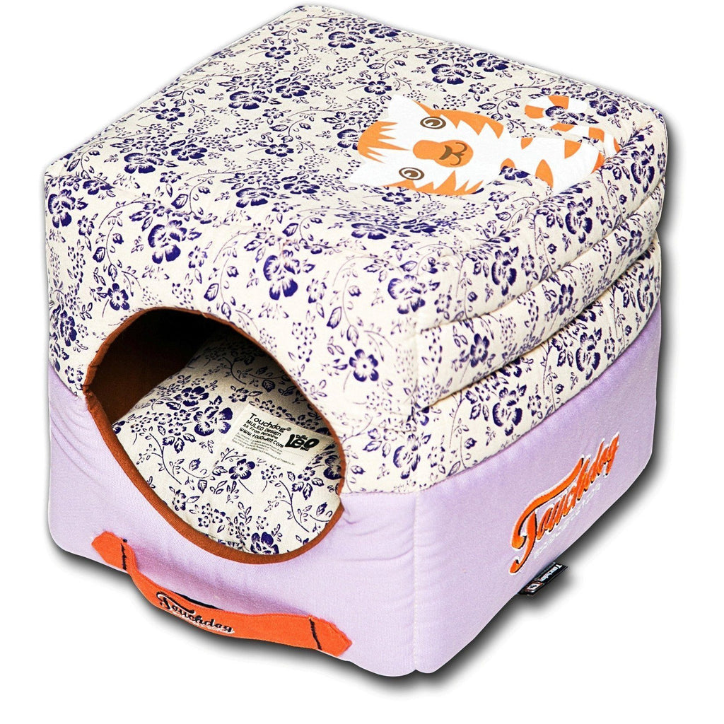 Touchdog ® 'Floral-Galoral' Convertible Squared 2-in-1 Fashion Designer Collapsible Pet Dog Bed House Lavender Purple, Cream White