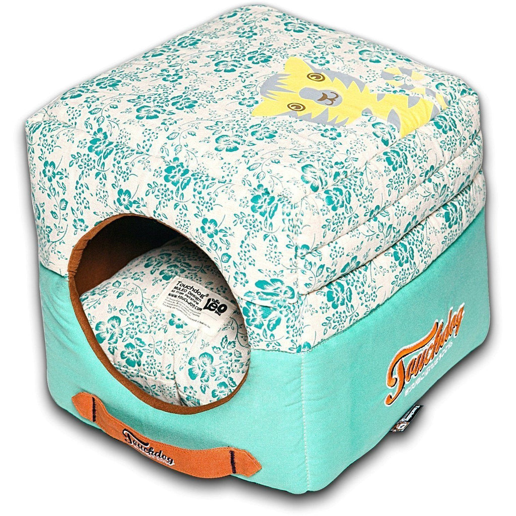 Touchdog ® 'Floral-Galoral' Convertible Squared 2-in-1 Fashion Designer Collapsible Pet Dog Bed House Teal Blue, White