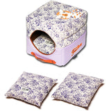 Touchdog ® 'Floral-Galoral' Convertible Squared 2-in-1 Fashion Designer Collapsible Pet Dog Bed House