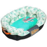 Touchdog ® 'Floral-Galoral' Ultra-Plush Rectangular Rounded Fashion Designer Pet Dog Bed Lounge Medium Turquoise Blue, Cream White