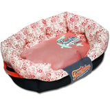 Touchdog ® 'Floral-Galoral' Ultra-Plush Rectangular Rounded Fashion Designer Pet Dog Bed Lounge Medium Red, Pink, White