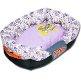 Touchdog ® 'Floral-Galoral' Ultra-Plush Rectangular Rounded Fashion Designer Pet Dog Bed Lounge Medium Lavender Purple, Cream White