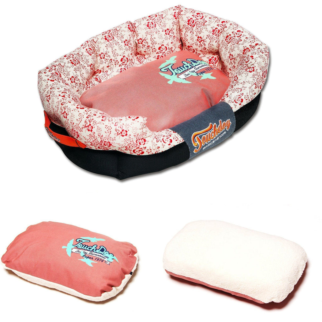 Touchdog ® 'Floral-Galoral' Ultra-Plush Rectangular Rounded Fashion Designer Pet Dog Bed Lounge