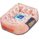 Touchdog ® 'Floral-Galoral' Vintage Printed Ultra-Plush Rectangular Fashion Designer Pet Dog Bed Lounge Medium Pink, Red, White