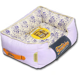Touchdog ® 'Floral-Galoral' Vintage Printed Ultra-Plush Rectangular Fashion Designer Pet Dog Bed Lounge Medium Lavender Purple, Blue, Beige