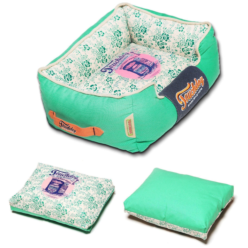 Touchdog ® 'Floral-Galoral' Vintage Printed Ultra-Plush Rectangular Fashion Designer Pet Dog Bed Lounge