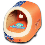Touchdog ® 'Lazy-Bones' Rabbit-Spotted Active-Play Panoramic Fashion Designer Pet Dog Cat Bed House Lounge w/ Teaser Toy Orange, Ocean Blue