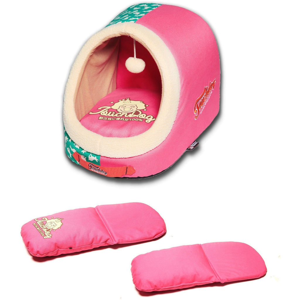 Touchdog ® 'Lazy-Bones' Rabbit-Spotted Active-Play Panoramic Fashion Designer Pet Dog Cat Bed House Lounge w/ Teaser Toy