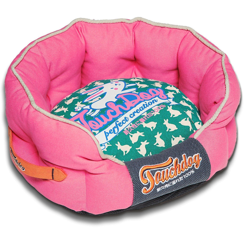 Touchdog ® 'Lazy-Bones' Rabbit-Spotted Premium Rounded Fashion Designer Pet Dog Bed Lounge Medium Pink, Teal