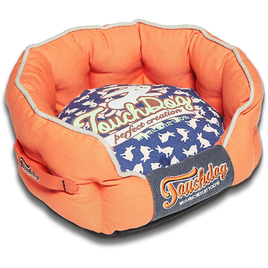 Touchdog ® 'Lazy-Bones' Rabbit-Spotted Premium Rounded Fashion Designer Pet Dog Bed Lounge Medium Orange, Ocean Blue