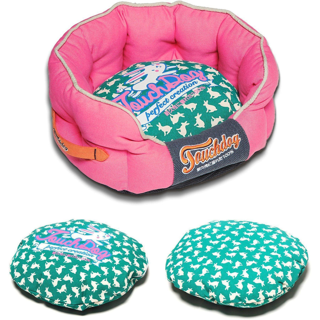 Touchdog ® 'Lazy-Bones' Rabbit-Spotted Premium Rounded Fashion Designer Pet Dog Bed Lounge