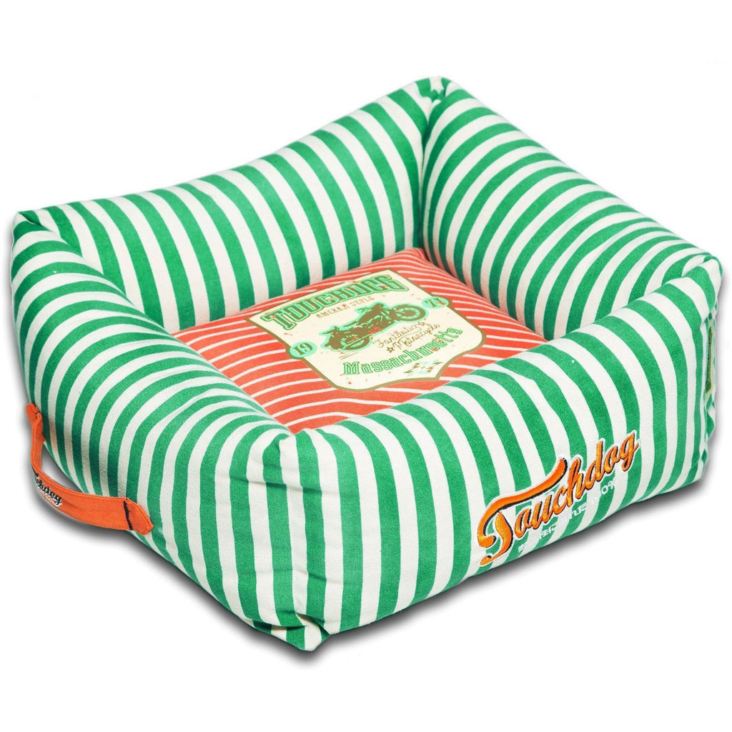 Touchdog ® 'Neutral-Striped' Ultra-Plush Easy Wash Squared Fashion Designer Pet Dog Bed Lounge Medium Spearmint Green, Orange