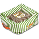 Touchdog ® 'Neutral-Striped' Ultra-Plush Easy Wash Squared Fashion Designer Pet Dog Bed Lounge Medium Brown, Spearmint Green