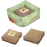 Touchdog ® 'Neutral-Striped' Ultra-Plush Easy Wash Squared Fashion Designer Pet Dog Bed Lounge