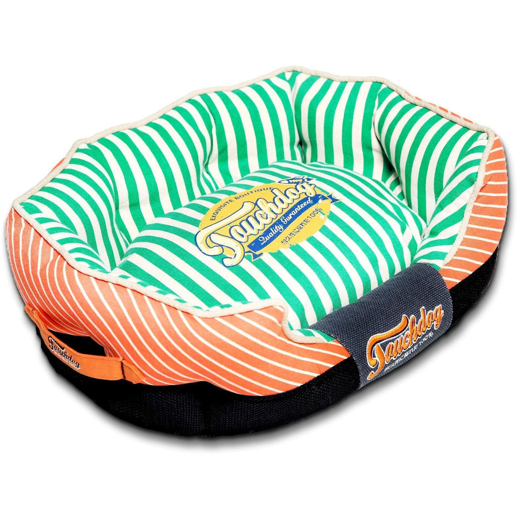 Touchdog ® 'Neutral-Striped' Ultra-Plush Rectangular Rounded Fashon Designer Pet Dog Bed Lounge Medium Orange, Spearmint Green