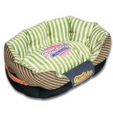 Touchdog ® 'Neutral-Striped' Ultra-Plush Rectangular Rounded Fashon Designer Pet Dog Bed Lounge Medium Apple Green, Brown