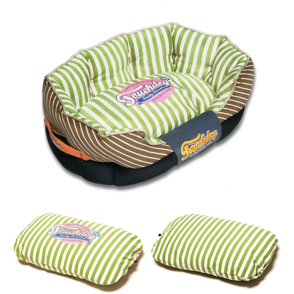 Touchdog ® 'Neutral-Striped' Ultra-Plush Rectangular Rounded Fashon Designer Pet Dog Bed Lounge