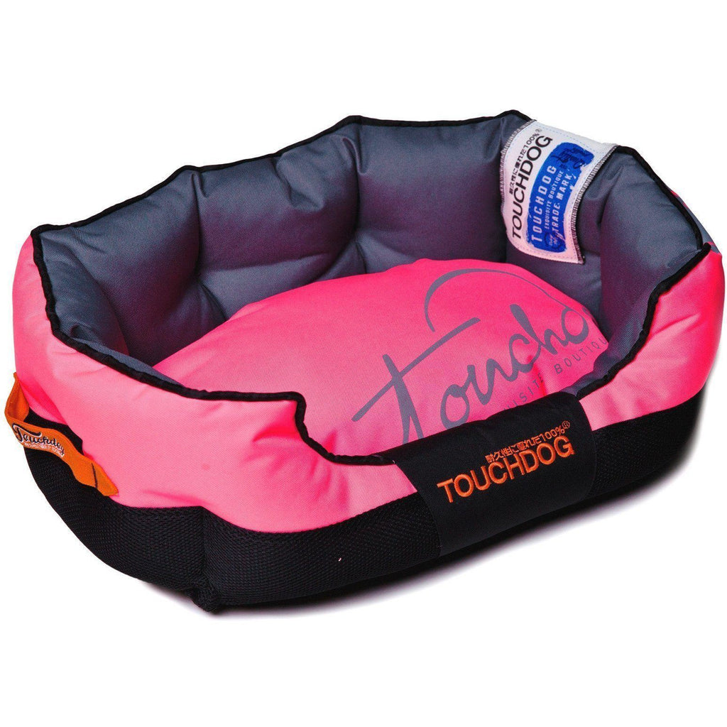 Touchdog ® 'Performance-Max' Sporty Comfort Cushioned Reflective Water-Resistant Fashion Pet Dog Bed Mat Medium Pink, Black