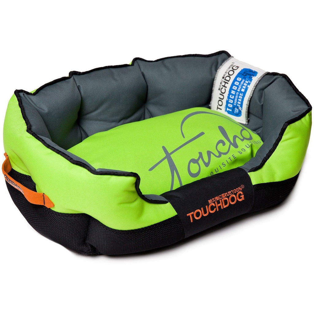 Touchdog ® 'Performance-Max' Sporty Comfort Cushioned Reflective Water-Resistant Fashion Pet Dog Bed Mat Medium Mink Green, Black