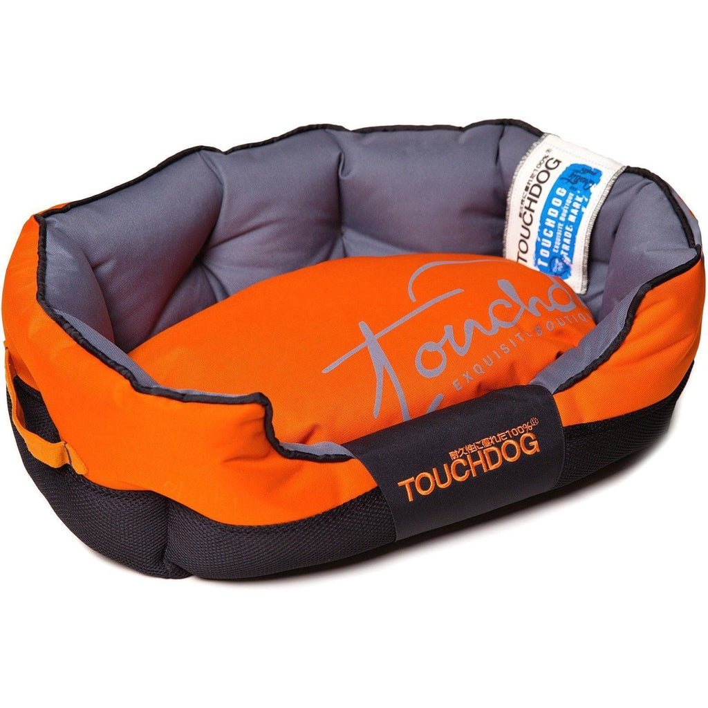 Touchdog ® 'Performance-Max' Sporty Comfort Cushioned Reflective Water-Resistant Fashion Pet Dog Bed Mat Medium Sunkist Orange, Black