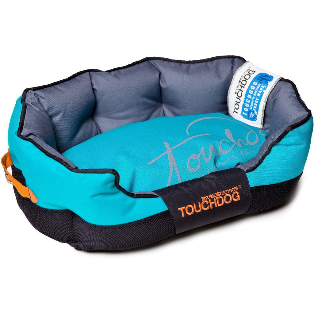 Touchdog ® 'Performance-Max' Sporty Comfort Cushioned Reflective Water-Resistant Fashion Pet Dog Bed Mat Medium Sky Blue, Black