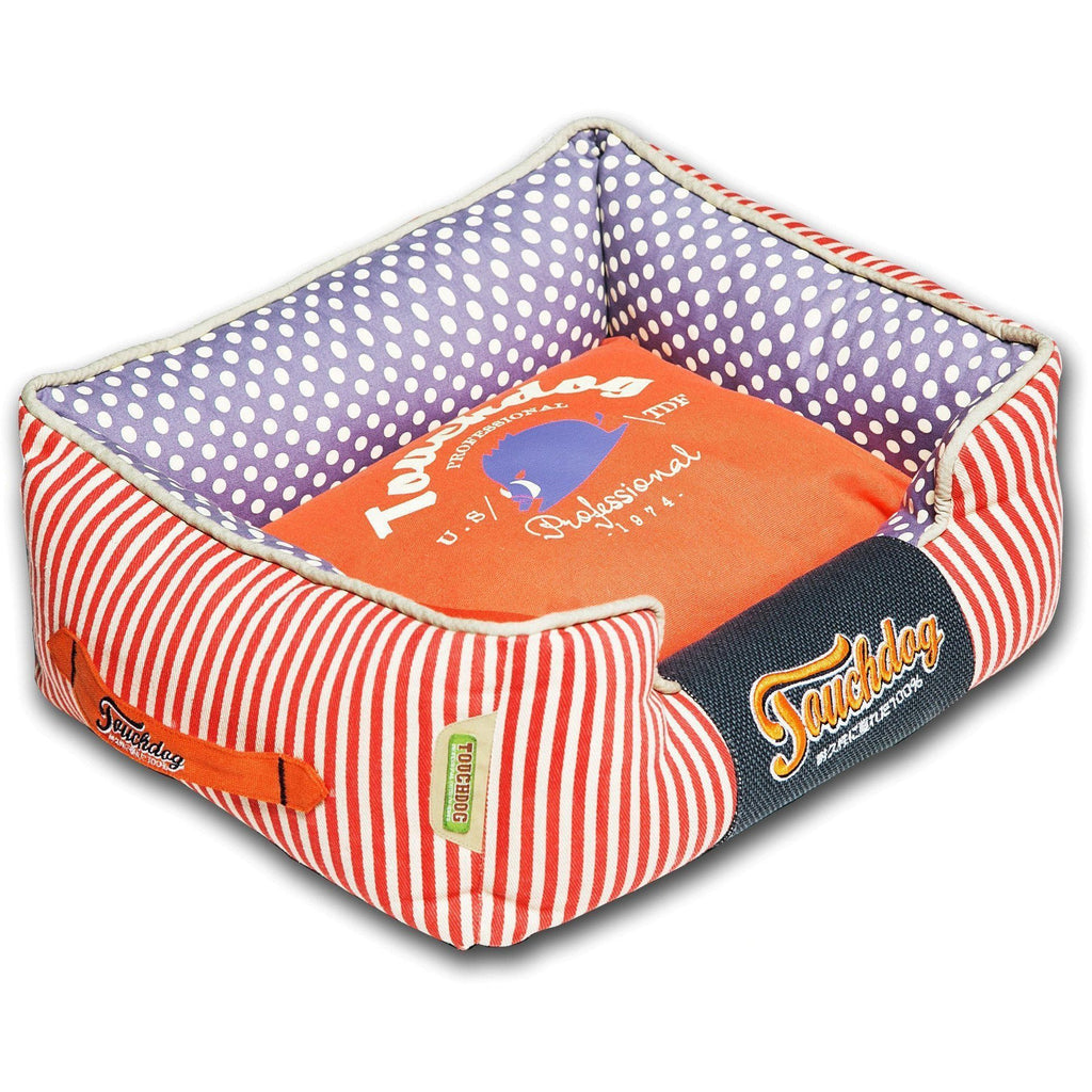 Touchdog ® 'Polka-Striped' Polo Easy Wash Rectangular Fashion Designer Pet Dog Bed Lounge Medium Orange, Lavender