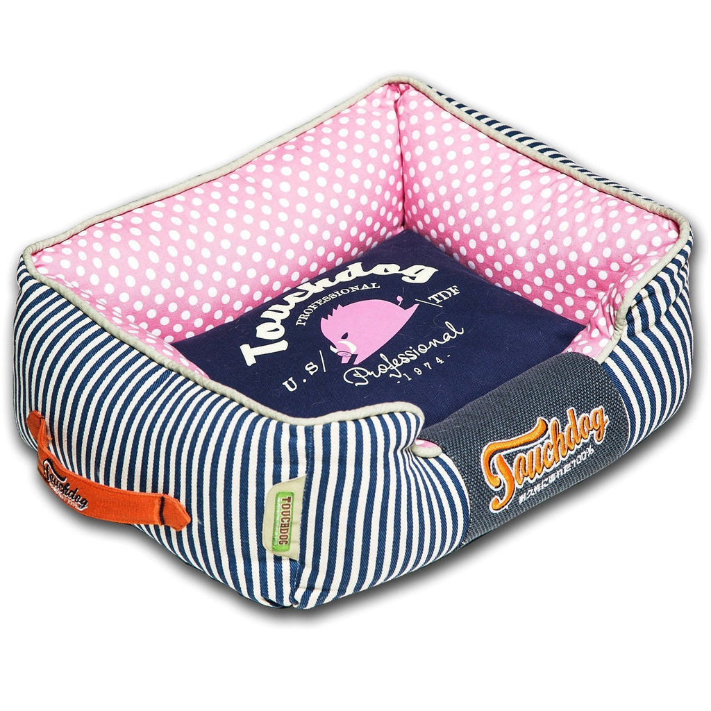 Touchdog ® 'Polka-Striped' Polo Easy Wash Rectangular Fashion Designer Pet Dog Bed Lounge Medium Navy Blue, Pink