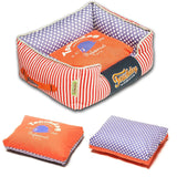 Touchdog ® 'Polka-Striped' Polo Easy Wash Rectangular Fashion Designer Pet Dog Bed Lounge