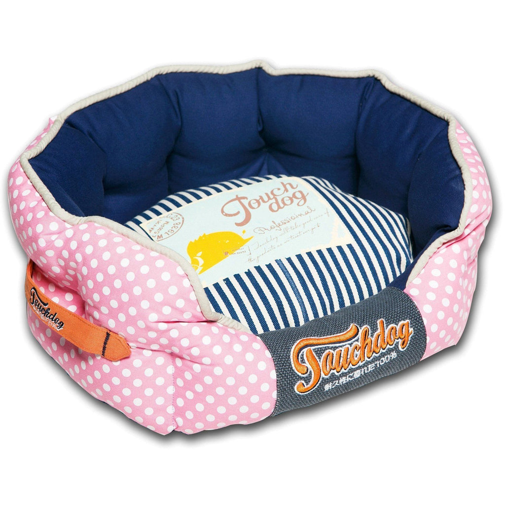 Touchdog ® 'Polka-Striped' Polo Rounded Fashion Designer Pet Dog Bed Lounge Medium Pink, Navy Blue