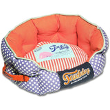 Touchdog ® 'Polka-Striped' Polo Rounded Fashion Designer Pet Dog Bed Lounge Medium Orange, Lavender