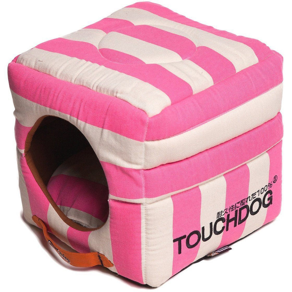 Touchdog ® 'Polo-Striped' Convertible Squared 2-in-1 Collapsible Pet Dog Cat Bed House Pink, White
