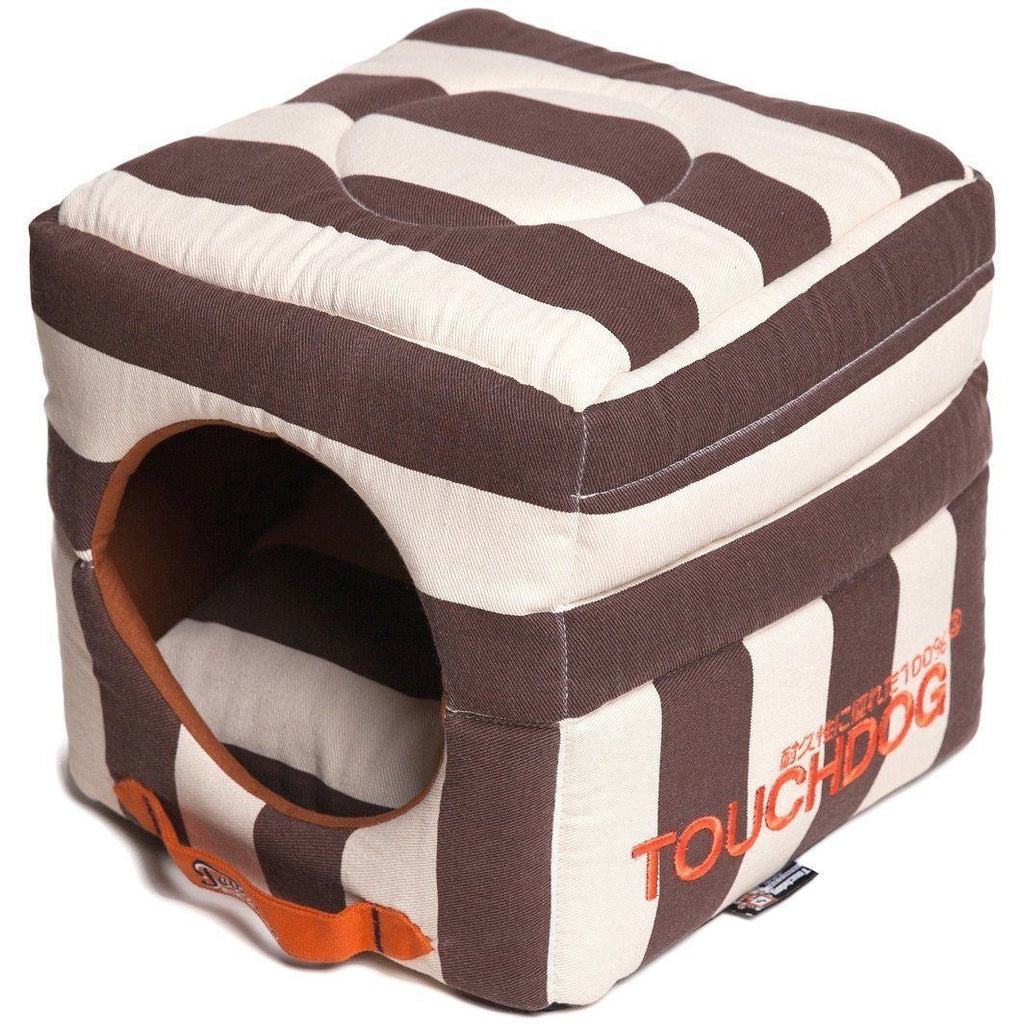 Touchdog ® 'Polo-Striped' Convertible Squared 2-in-1 Collapsible Pet Dog Cat Bed House Cocoa Brown, White