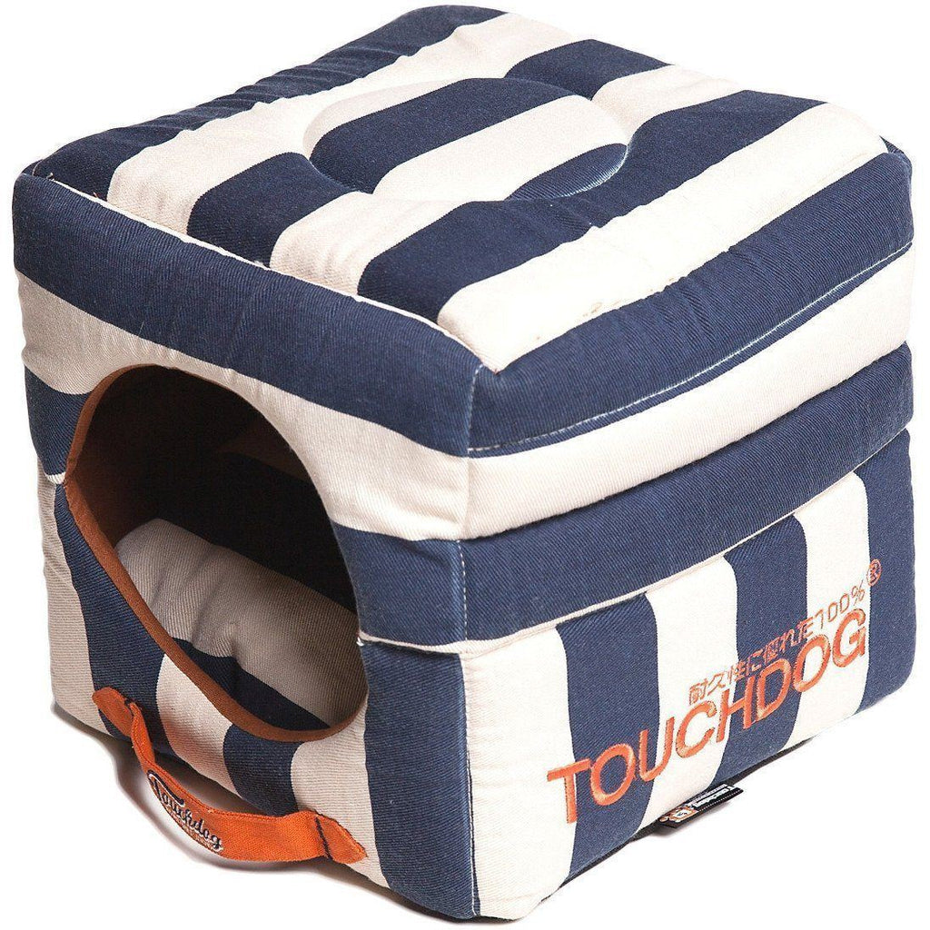 Touchdog ® 'Polo-Striped' Convertible Squared 2-in-1 Collapsible Pet Dog Cat Bed House Blue, White