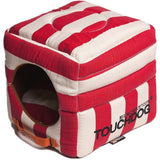 Touchdog ® 'Polo-Striped' Convertible Squared 2-in-1 Collapsible Pet Dog Cat Bed House Red, White