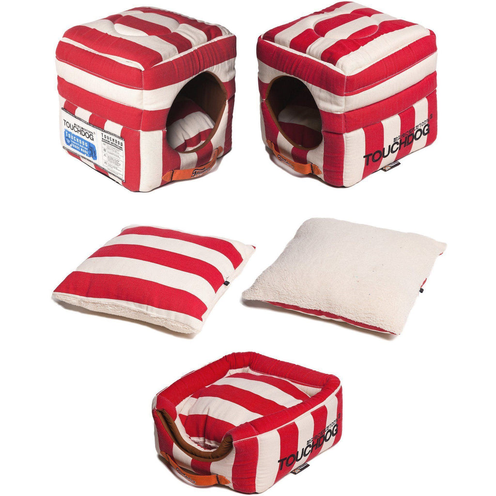 Touchdog ® 'Polo-Striped' Convertible Squared 2-in-1 Collapsible Pet Dog Cat Bed House