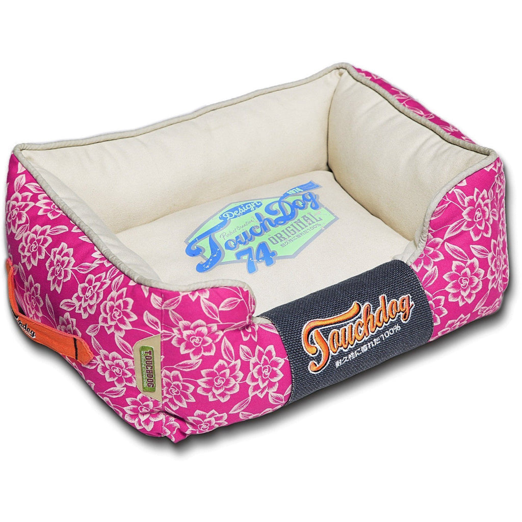 Touchdog ® 'Rose-Pedal' Patterned Premium Rectangular Fashion Designer Pet Dog Bed Lounge Medium Dark Pink, Cream White