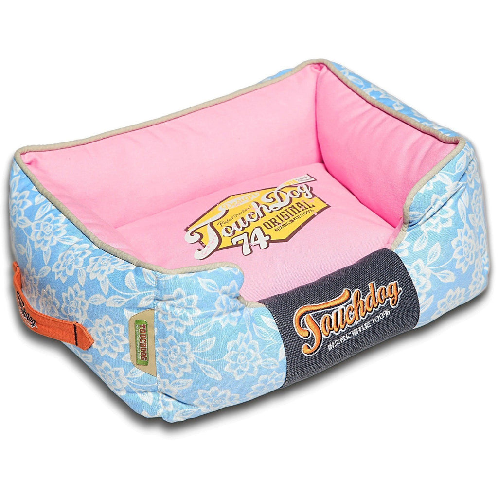 Touchdog ® 'Rose-Pedal' Patterned Premium Rectangular Fashion Designer Pet Dog Bed Lounge Medium Sky Blue, Bubblegum Pink