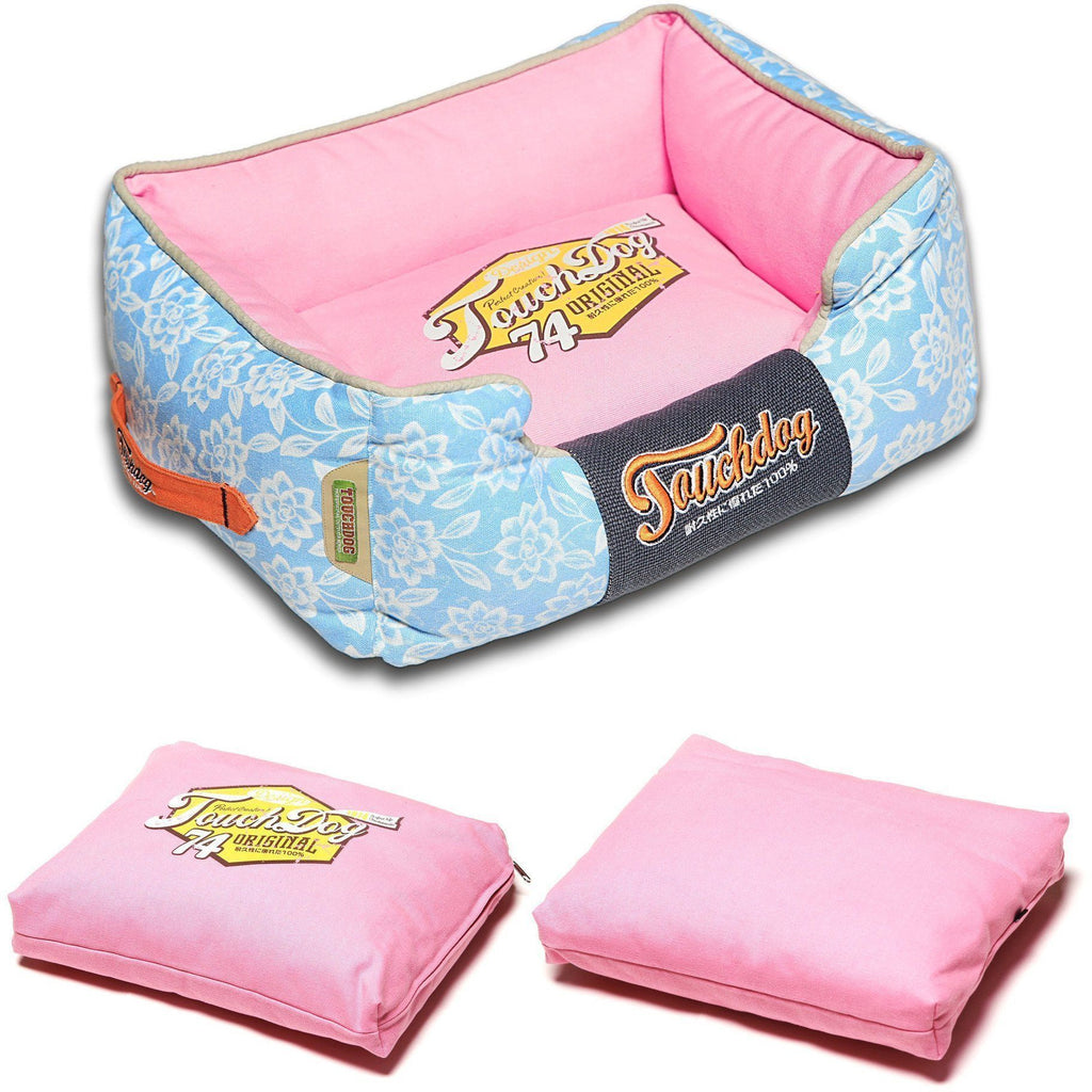 Touchdog ® 'Rose-Pedal' Patterned Premium Rectangular Fashion Designer Pet Dog Bed Lounge