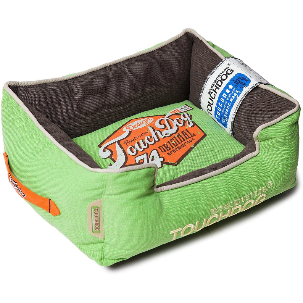 Touchdog ® 'Sporty Vintage' Original Throwback Reversible Plush Rectangular Pet Dog Bed Medium Mint Green, Mud Brown