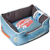 Touchdog ® 'Sporty Vintage' Original Throwback Reversible Plush Rectangular Pet Dog Bed Medium Dark Blue, Mud Brown