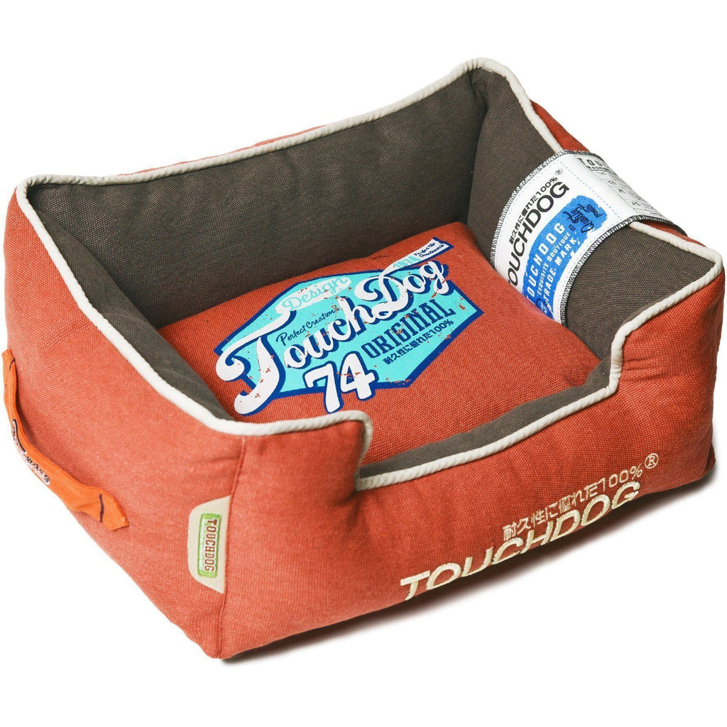 Touchdog ® 'Sporty Vintage' Original Throwback Reversible Plush Rectangular Pet Dog Bed Medium Brown, Orange