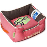 Touchdog ® 'Sporty Vintage' Original Throwback Reversible Plush Rectangular Pet Dog Bed Medium Flamingo Pink, White