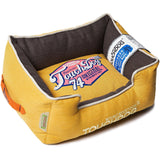 Touchdog ® 'Sporty Vintage' Original Throwback Reversible Plush Rectangular Pet Dog Bed Medium Yellow Lemon, Dark Brown