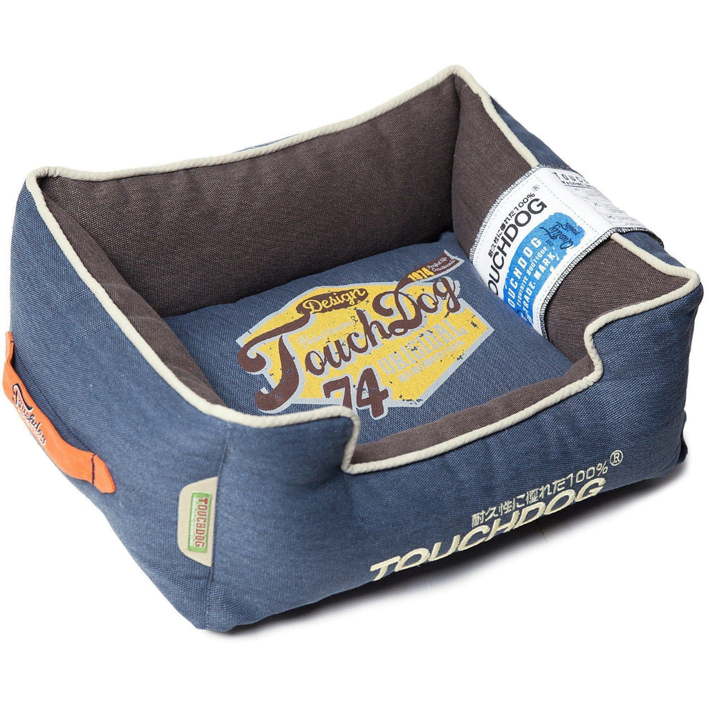 Touchdog ® 'Sporty Vintage' Original Throwback Reversible Plush Rectangular Pet Dog Bed Medium Midnight Blue, Dark Grey