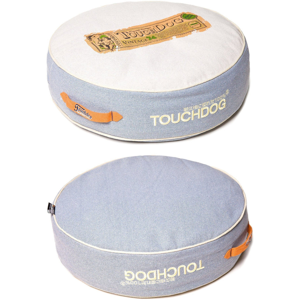 Touchdog ® 'Surround-View' Original Classical Denim Plush Raised Fashion Designer Pet Dog Bed Mat